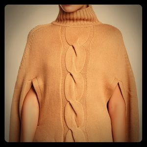 525 America Cabel Knit Wool Blend Poncho Sweater
